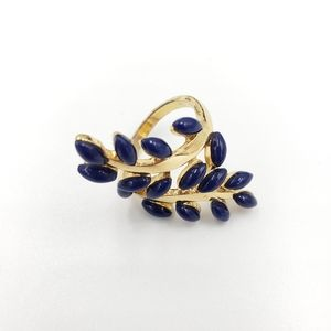 ❤Gold Tone Blue Beaded Stone Statement Ring.